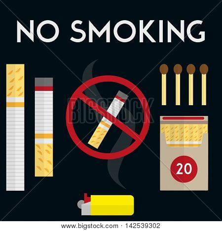 No smoking sign with cigarettes, lighter and matches. Vector illustration in flat style design. Pack of cigarettes.