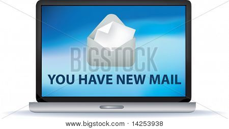 You have new mail illustration on a laptop