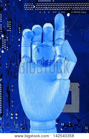 Robotic hand holding digital earth on circuit board background. Future technologies concept.