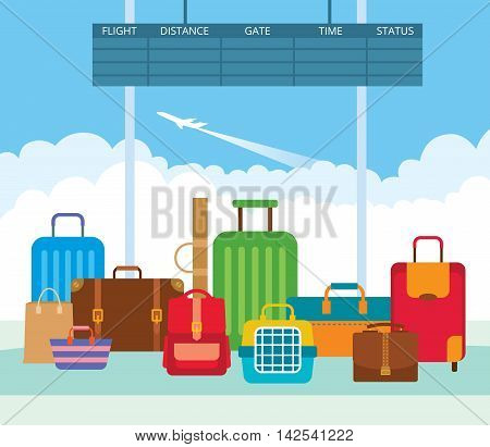 Vector illustration of a big pile diverse luggage in the departure lounge of the airport. Suitcases bags carrying animal backpack.