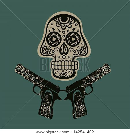 Hand drawn skull with guns on a grungy background in vintage style. Vector illustration