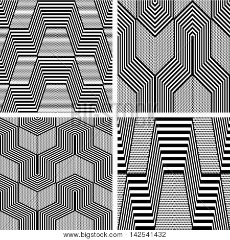Seamless geometric op art patterns set. Vector art.