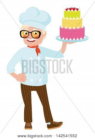 Stock vector illustration of a smiling senior chef holding plate with cake