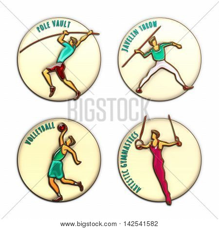Athlete Icon. Volleyball. Jevilin Throw. Pole Vault. Artistic Gymnastics. Summer games. Sport icons with sportsmen for competitions or championship design. Original 3D Illustration gold enamel glass