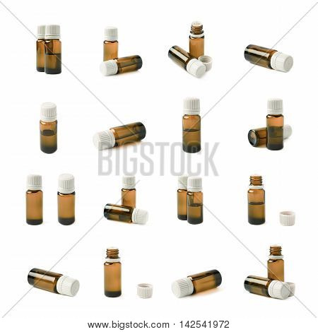 Small brown glass flask vial, composition isolated over the white background, set of multiple different foreshortenings