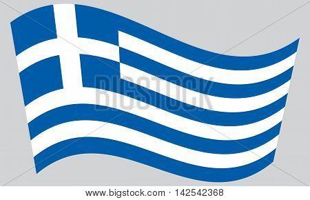 Flag of Greece waving on gray background. Greek national flag.