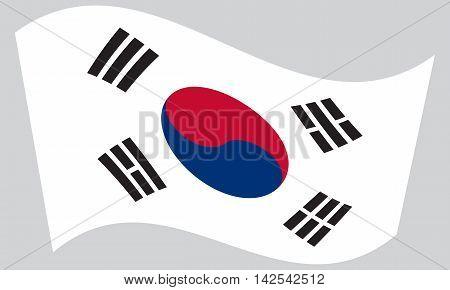 Flag of South Korea waving on gray background. South Korean national flag.