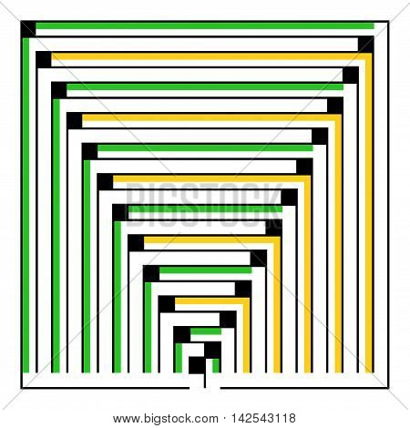 Many-colored square maze(24x24) on a white background