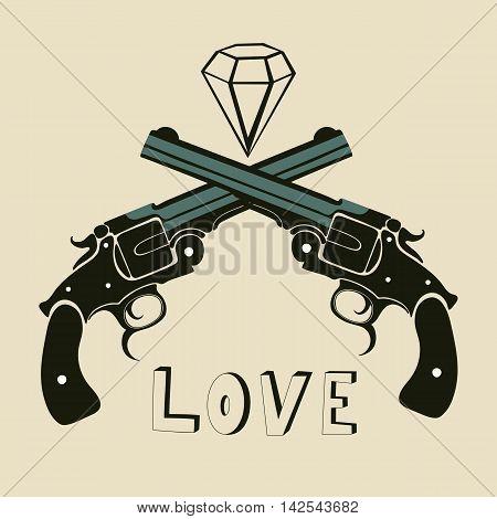 Classic revolvers and diamonds emblem. vector illustration