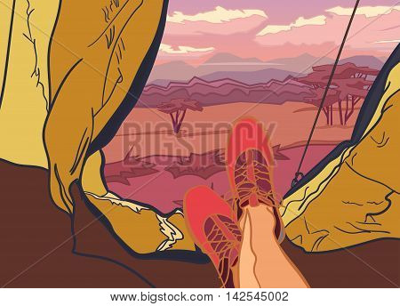 Vector illustration on themes nature of Africa, safari, sunset in Savannah, hunting, camping, trip. Sports, Camping, outdoor recreation adventures in nature vacation Camping tent