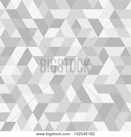 Geometric vector pattern with dark and light silver triangles. Seamless abstract background