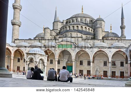 ISTANBUL - APR 23 2016: Sultan Ahmed Mosque known as the Blue Mosque in Istanbul. Turkey
