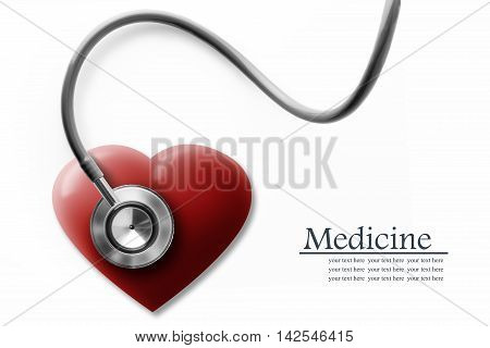 Close up view of grey stethoscope with heart on white back