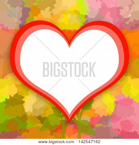 Bright romantic love frame in the shape of heart on colorful background