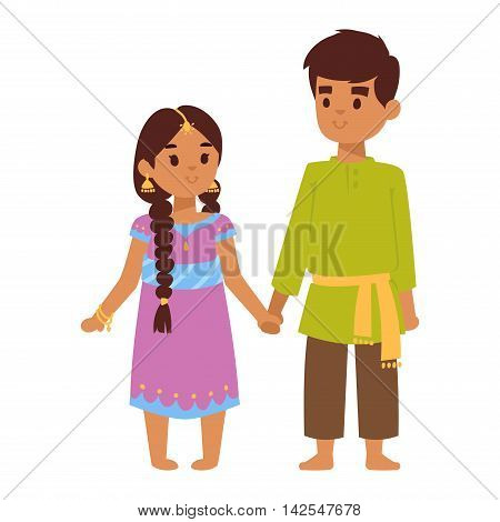 Vector illustration of Indian culture young kids standing figure. Indian people children happy person. Ethnicity cheerful casual Indian people, traditional boy and girl character.