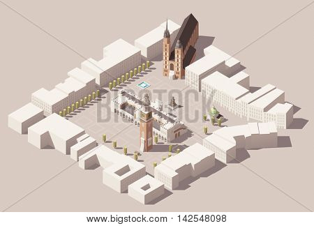 Vector isometric low poly Map of center of the Krakow, Poland with Cloth Hall, Town Hall Tower, Church, Basilica and nearby street buildings