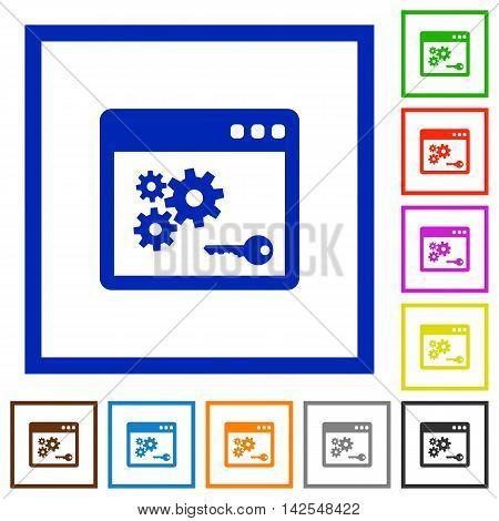 Set of color square framed API key flat icons