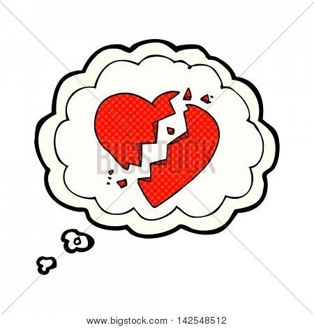 freehand drawn thought bubble cartoon broken heart