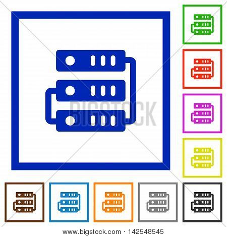Set of color square framed servers flat icons