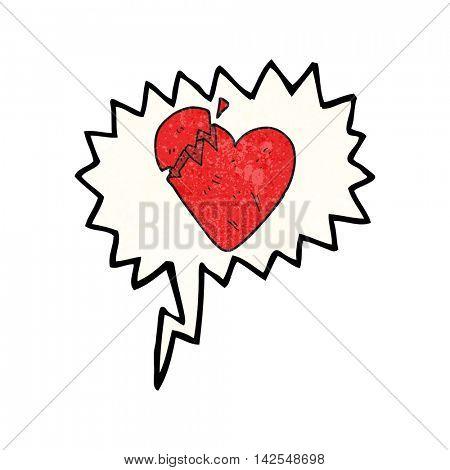 freehand speech bubble textured cartoon broken heart