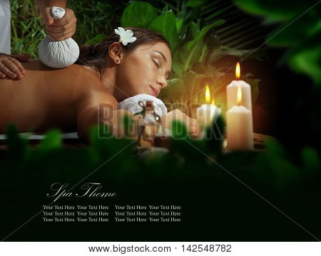 portrait of young beautiful woman in spa environment. Banner, extra space for your text