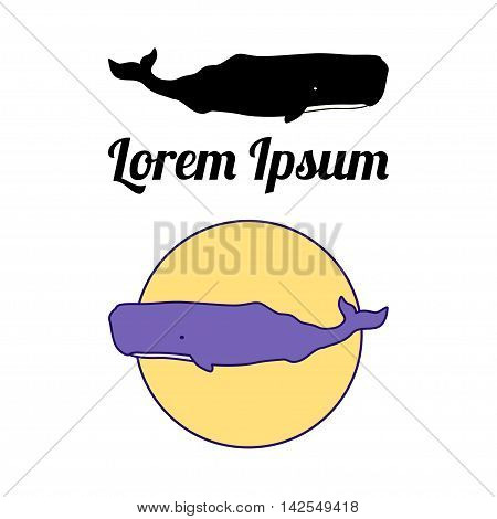 Sperm Whale label, emblem or badge design. illustration. Isolated over white.