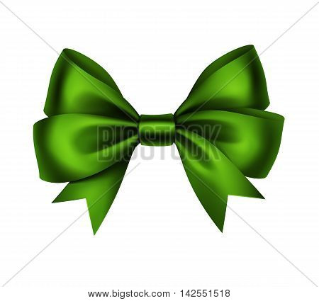 Vector Shiny Green Satin Gift Bow Close up Isolated on White Background