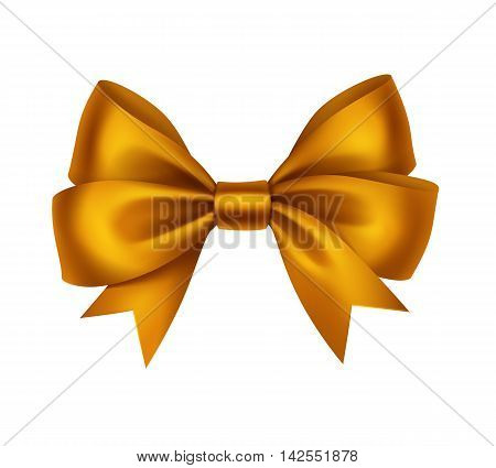 Vector Shiny Golden Satin Gift Bow Close up Isolated on White Background