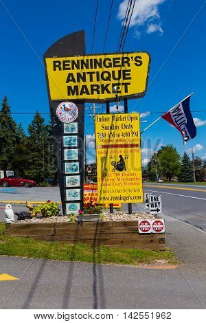 Adamstown PA - August 7 2016: Renningers Antique Market includes over 200 dealers each week in northern Lancaster County.
