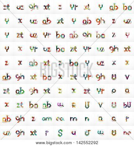 Mega set of 100 vector letter logos, linear design