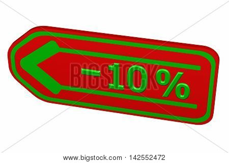 Discount - 10 % arrow isolated on white background. 3D rendering.