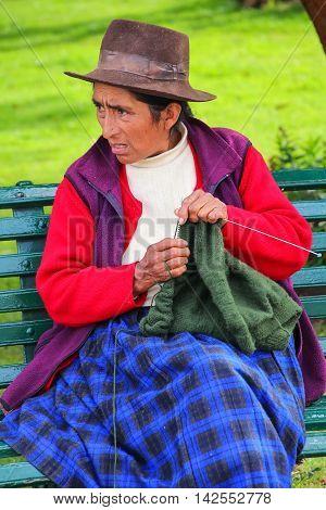 Cusco, Peru - January 20: Unidentified Woman Knits At Plaza De Armas On January 20, 2015  In Cusco,