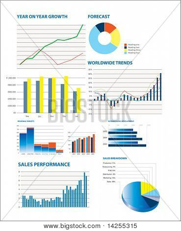 Business performance data including sales figures and charts