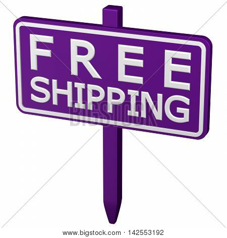Free shipping sign isolated on white background. 3D rendering.