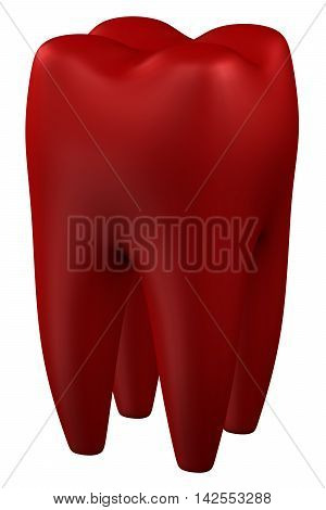 Human tooth isolated on white background. 3D rendering.
