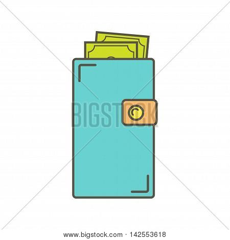 Wallet with money. Isolated on a white background. Vector illustration. Vector wallet icon.