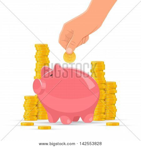 Saving money concept vector illustration. Pink piggy bank with golden coin piles on background. Human hand put money in a piggy bank.