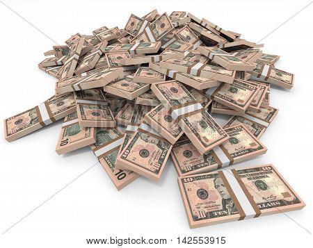 Money Heap. Ten  Dollars.