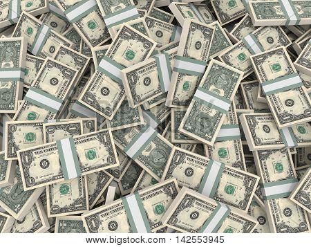 Stacks Of Money.  One Dollar.