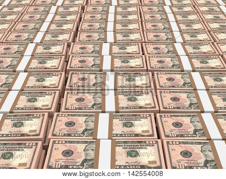 Stacks Of Money. Ten  Dollars.