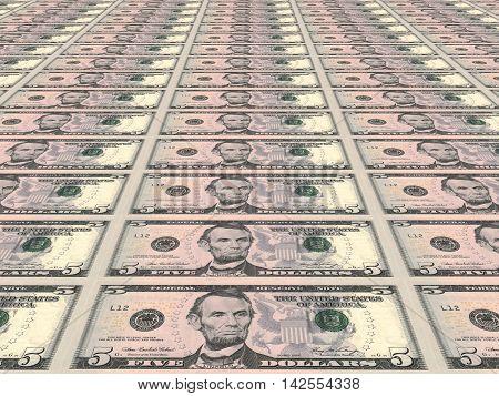 Perspective dollar background. Five dollars. 3D illustration.