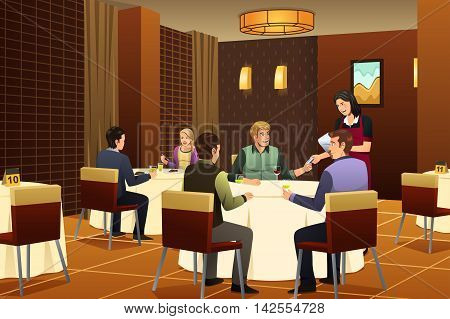 A vector illustration of customer giving a credit card to a waiter in a restaurant
