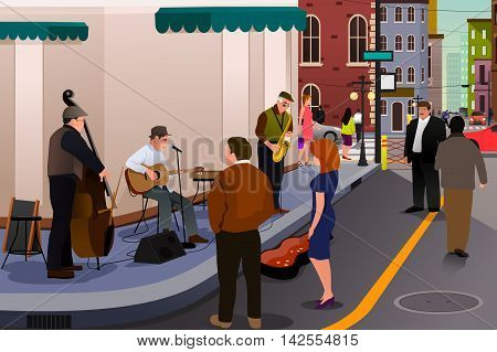 A vector illustration of jazz musician playing on the street in the city