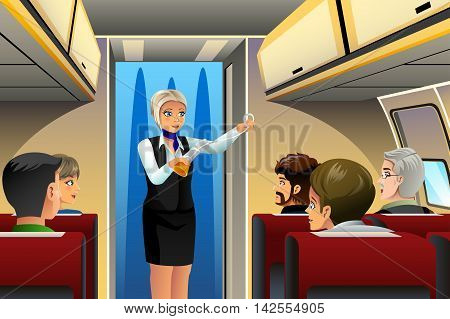 A vector illustration of flight attendant doing safety demonstration before taking off