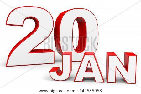 January 20. 3D Text On White Background.