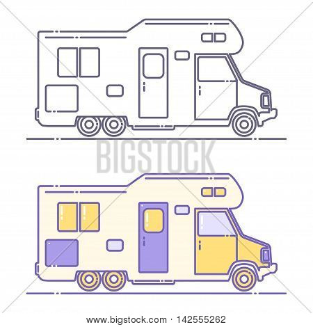 Vector camping cars. Caravan truck icon. Camper van illustration. Isolated on a white background.