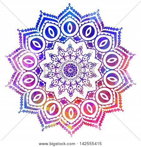 Watercolor color card with mandala. Geometric circle element vector. Art subject, Adults Coloring book. Kaleidoscope, medallion, yoga, india, arabic. Illustration for print, print, notebook, clothing