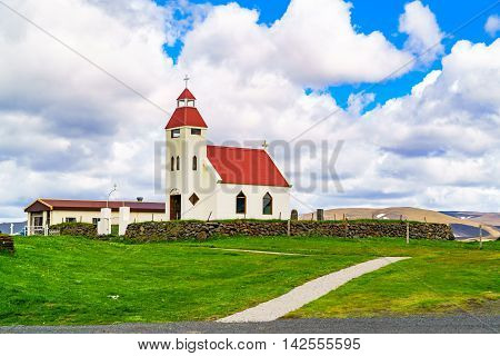 View of Church NE of Modrudalur in northeast of Iceland