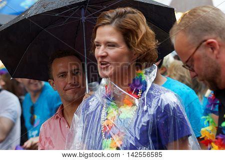 STOCKHOLM SWEDEN - JUL 30 2016: The swedish party leader Anna Kinberg Batra and Tomas Tobe in the Pride parade July 30 2016 in Stockholm Sweden