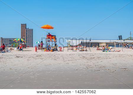 NEW YORK CITY, USA - JUNE 25, 2016: Lifeguard on Coney Island beach